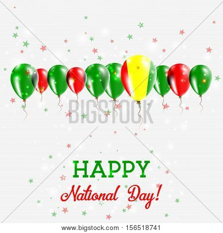 Guinea Independence Day Sparkling Patriotic Poster. Happy Independence Day Card With Guinea Flags, C
