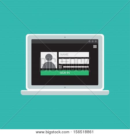 Web Template and Elements for site form of login to account on computer. Vector