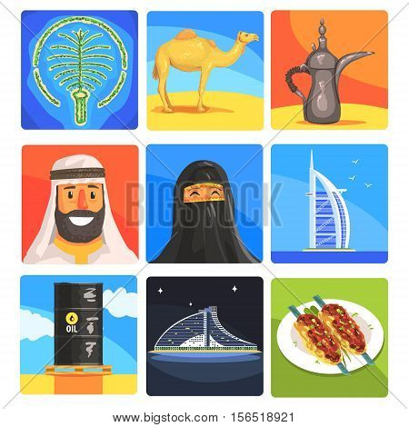 Famous Touristic Attractions To See In United Arab Emirates. Traditional Tourism Symbols Of Arabic Country Including Food, Architecture And Religious Habits. Set Of Colorful Vector Illustrations With Travelling Destination Well-Known Objects.