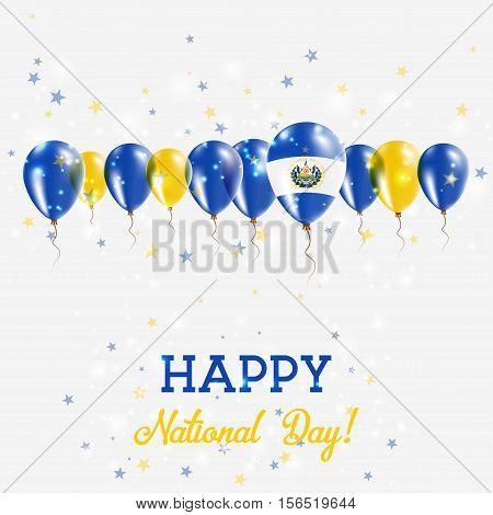 El Salvador Independence Day Sparkling Patriotic Poster. Happy Independence Day Card With El Salvado