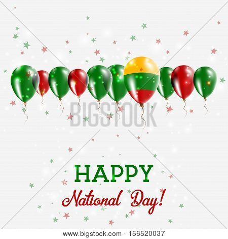 Lithuania Independence Day Sparkling Patriotic Poster. Happy Independence Day Card With Lithuania Fl