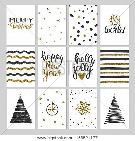 Black and gold Christmas cards. Vector gift tags, labels and cards for Christmas. Cards with grunge elements and gold glitter. Hand drawn Christmas lettering and seasonal greetings.
