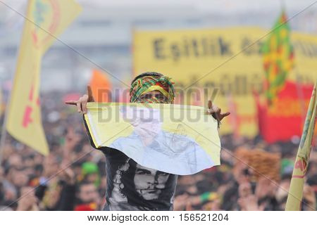 ISTANBUL,TURKEY - MARCH 20: Kurds celebrating their traditional feast Newroz that means 'new day' in kurdish on March 20, 2011 in Istanbul, Turkey.