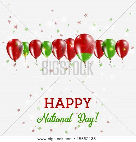 Belarus Independence Day Sparkling Patriotic Poster. Happy Independence Day Card With Belarus Flags,