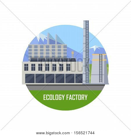Ecology gray factory round icon. Factory building with pipes on nature landscape. Industrial factory building concept. Industrial plant with pipes in flat. Factory icon. Ecological production concept