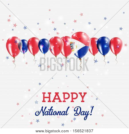 Sint Maarten Independence Day Sparkling Patriotic Poster. Happy Independence Day Card With Sint Maar
