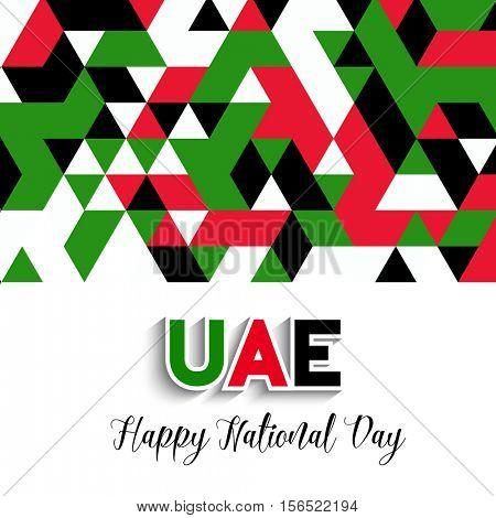 Decorative geometric style background for UAE National Day celebration