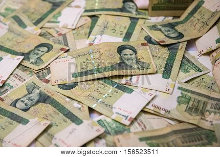 A pile of Iranian Rial bank notes