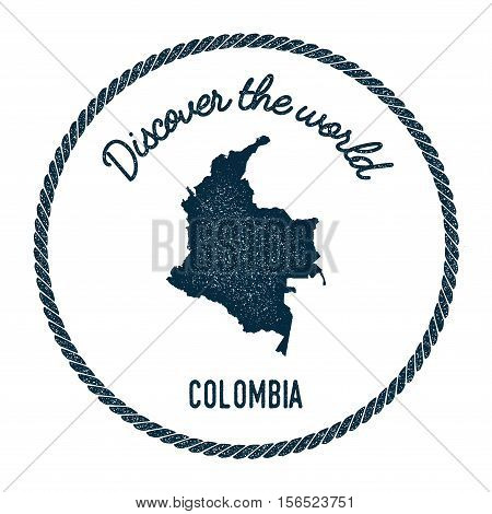 Vintage Discover The World Rubber Stamp With Colombia Map. Hipster Style Nautical Postage Stamp, Wit