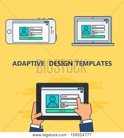 Adaptive Web Template and Gadget Elements for site form of login to account on Smartphone, Tablet, Notebook. Outline minimalistic pad, phone, laptop mockups. Vector