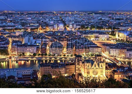 View of Lyon city from Fourviere France