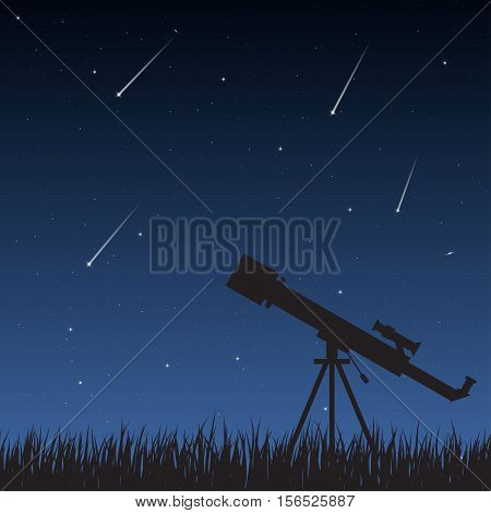 Telescope standing on the grass looking to the night sky with stars milky way and meteors.