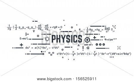 Abstract science background banner. Theoretical physics equations of general relativity and other science formulas. Lines and dots.