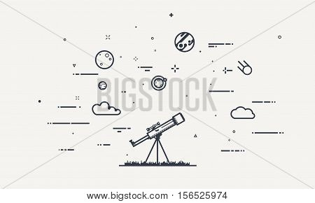Discovery concept. Flat style thick and thin line design of telescope looking to the stars and planets. Science discover.