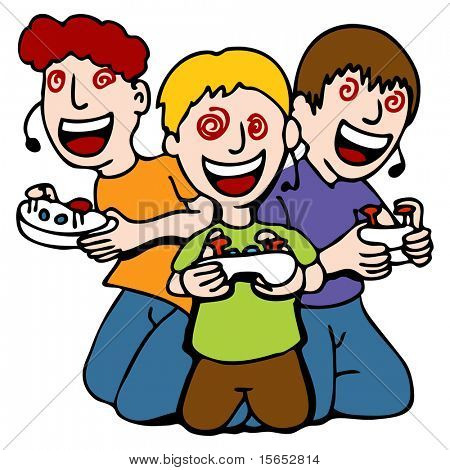 An image of a three children mesmerized while playing video games.