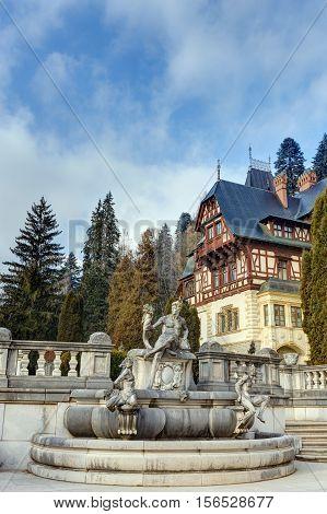 Sculpture in the garden of Peles castle, Sinaia, Romania