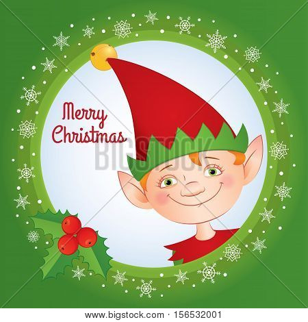 Vector cartoon illustration of an elf in a red cap with a jingle bell on it. Greeting text