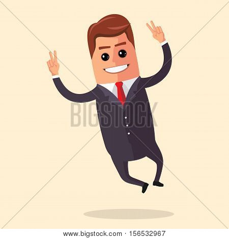 Vector illustration. Manager character is jumping. Smiling businessman rejoices and bounces. Happy business man.