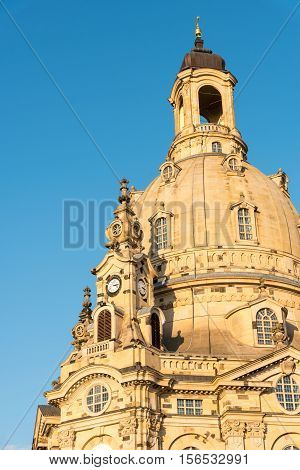 Detail of the famous Church of our Lady in Dresden, Germany