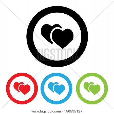Hearts Icon With Four Color Variations Cartoom Flat Cute Logo Modern Beautiful Illustration Stock