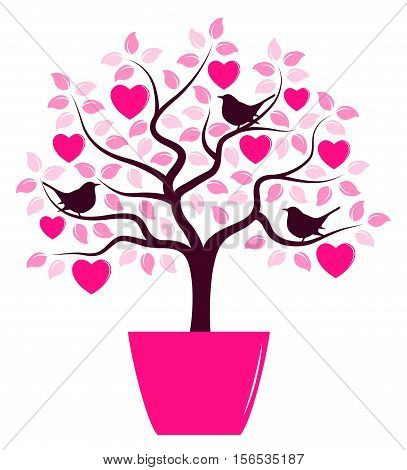 vector heart tree with birds in pot isolated on white background