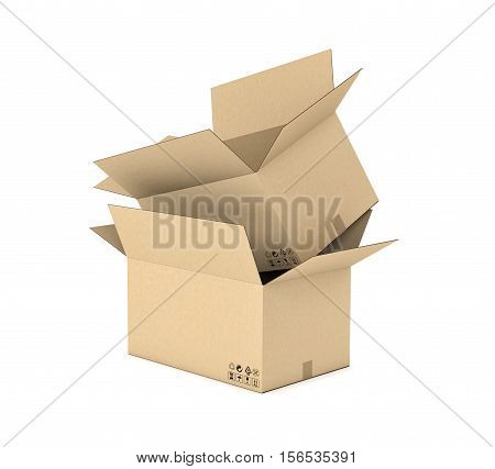 3d rendering of two opened light beige cardboard mail box one put inside another, isolated on the white background, three quarters view. Postal services. Packing and crating. Storage of different products.