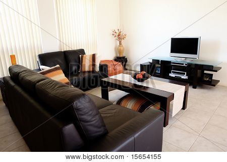 Moderne orange und braun Innenraum mit home-Entertainment-system