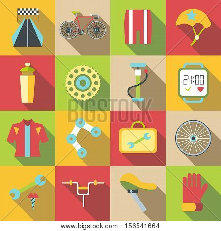 Bike items icons set. Flat illustration of 16 bike items vector icons for web