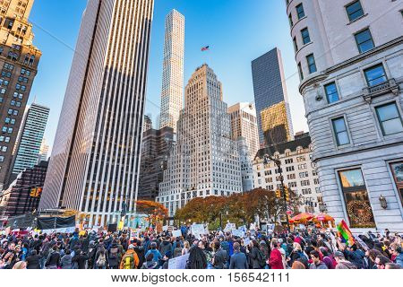 NEWYORK CITY - NOVEMBER 13, 2016:  Crowds on 5th Avenue march towards Trump Tower to protest President-elect Donald Trump.