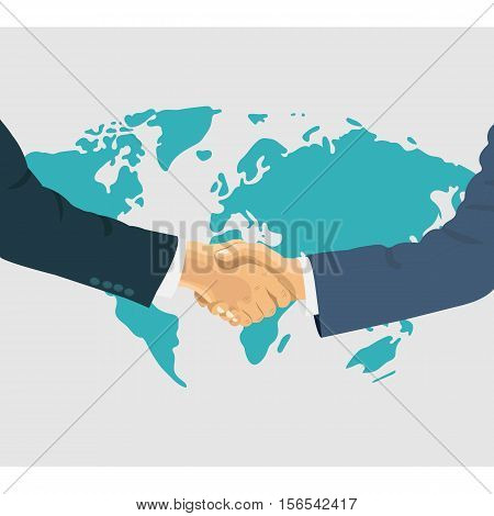 Shaking hands business vector illustration. Success deal or greeting shake. Flat sign design isolated