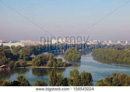 Junction Of Sava And Danube In Belgrade, Serbia