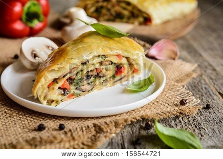Savory Strudel With Mushrooms, Red Pepper, Onion, Garlic And Parsley