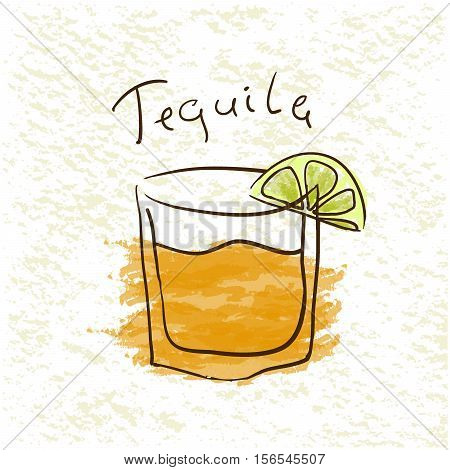 Glass of tequila with lime pictured by watercolor on paper background. Hand drawn vector illustration