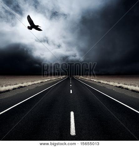 Ein Vogel fliegt weg von einer eingehenden Sturm