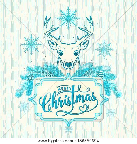Vector illustration of Merry Christmas greeting with deer, snowflakes, pinecone, lettering inscription. Magic winter congratulation with Christmas in retro style with grunge texture