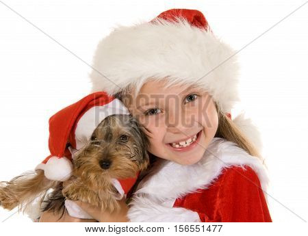 Little girl and dog at Christmas isolated on white