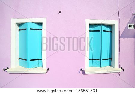 Two Windows Closed In Colorful House On The Island Of Burano In