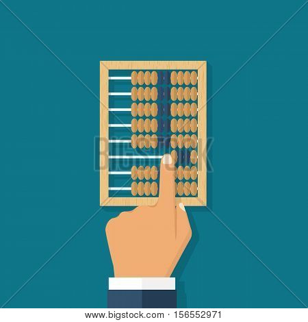Man calculation in accounts. Old tool for calculations. Wooden abacus in the hands of men. Vector illustration flat design. Accounting concept.