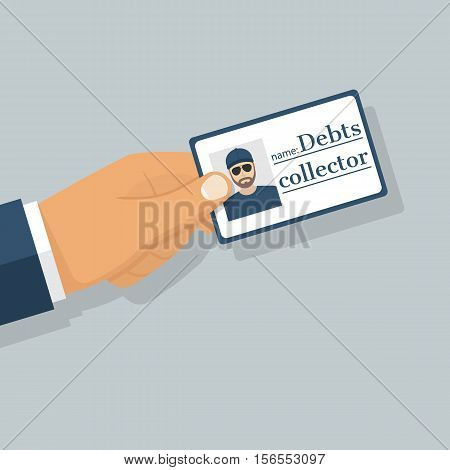 Debt collector. Salesman pressure. Man tax agent bouncer holding an identity card in hand. Vector illustration flat design.