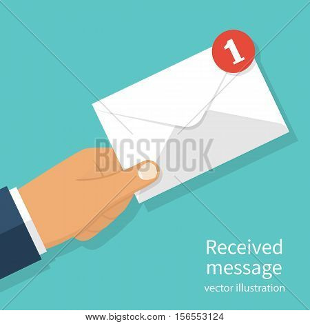 Received message concept. New email incoming message sms. Mail delivery service. Envelope in hand. receive mail. Vector illustration flat design. Isolated on background.