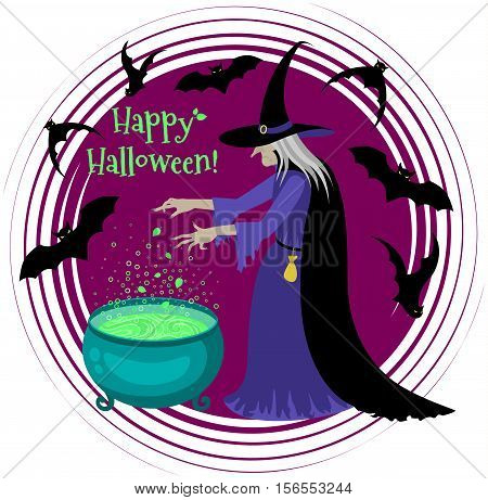 Old scary witch cooks a potion in a cauldron. Happy Halloween poster. Cartoon Halloween character.