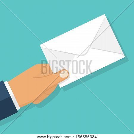 Envelope holding in the hand. Email message concept sending. Postman gives a letter. Delivery of messages. Vector illustration flat design. Isolated on white background. Email correspondence.