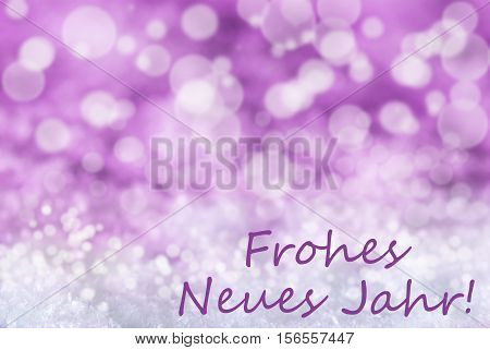 German Text Frohes Neues Jahr Mean Happy New Year. Pink Or Rose Christmas Bokeh Background Or Texture With Snow. Copy Space For Your Text Here