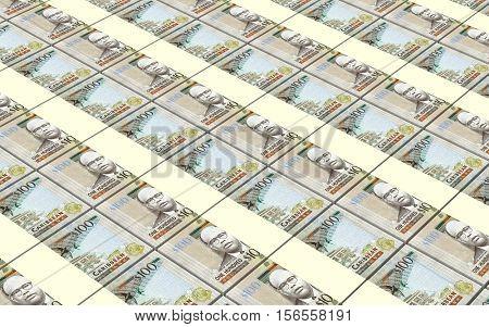 East Caribbean dollar bills stacked background. 3D illustration.