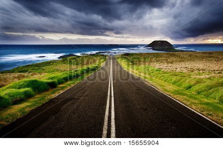 Road leads to a beautiful coastline