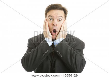 Shocked businessman isolated on a white background.