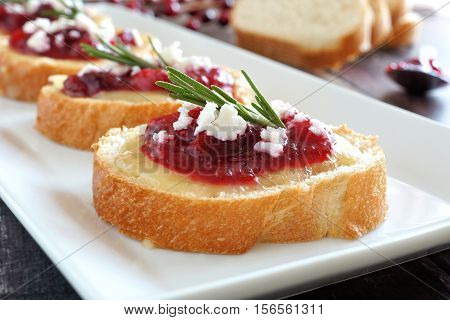 Holiday Crostini Appetizers With Cranberry Sauce, Brie, Feta And Rosemary Close Up On A White Plate
