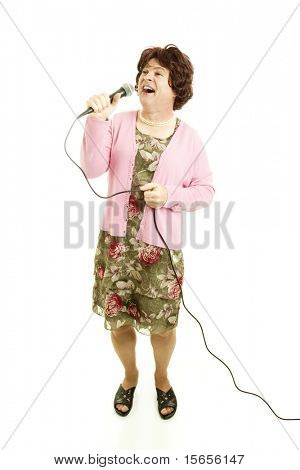Middle-aged female impersonator singing.  Full body isolated on white.