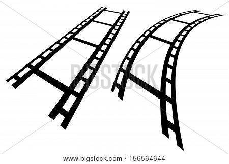 Film Strips In Perspective. Straight And Distorted Filmstrip.