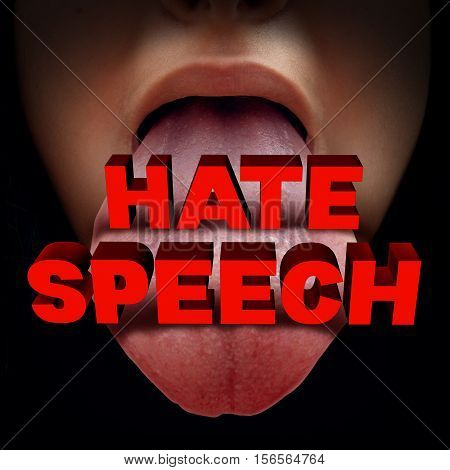 Hate speech concept as a foul mouthed person with an open mouth with 3D illustration text as a metaphor for hatred talk or communicating obsecene salacious words as an icon for prejudice or intolerence.